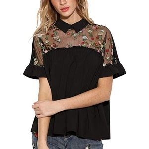 Shein embroidered floral blouse